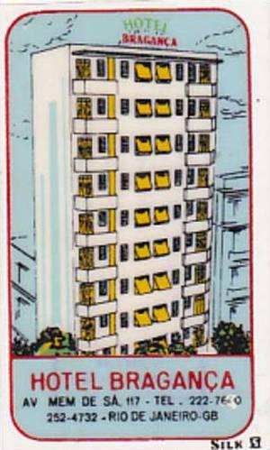 BRASIL RIO DE JANEIRO HOTEL NOVO MUNDO VINTAGE LUGGAGE LABEL