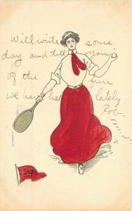 1907 College Girl Middletown CT W Pennant Tennis Hand Colored Sports Postcard