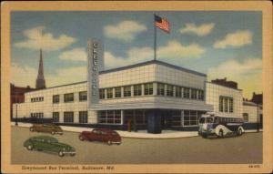 Baltimore MD Greyhound Bus Station Linen Postcard