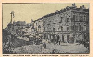 Poland Warschau Marschalkowska-Strasse, Warsaw Marszalkowska Tramways Trams 1915
