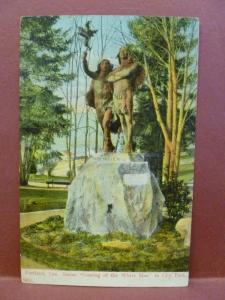 Old Postcard OR Portland City Park Statue Coming of the White Man