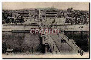 Paris 8 - La Place de la Concorde and the Seine - Old Postcard