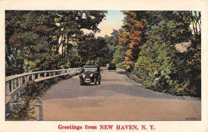 New Haven New York Early Auto Roadway Greeting Antique Postcard K73073