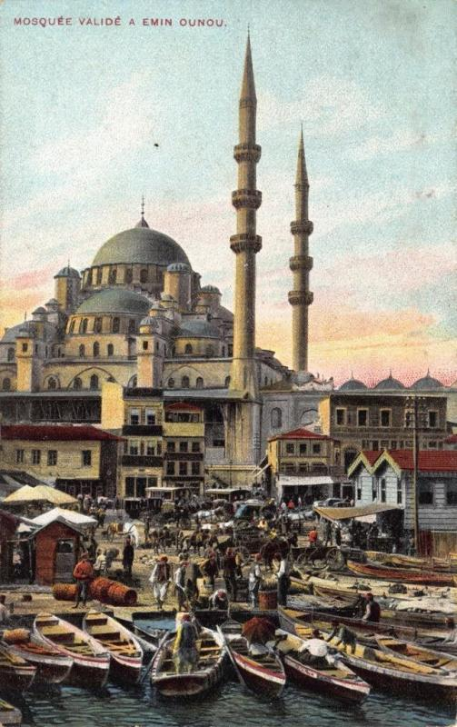 Postcard TURKEY Constantinople Mosquee Valide a Emin Ounou Mosque & Boats Quay