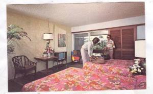 Interior, beautiful two double beds, ocean view room, Kauai Beachboy Hotel, W...