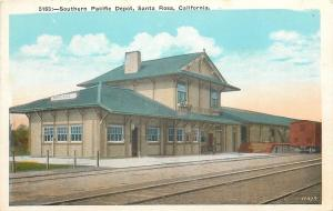Santa Rosa California~Southern Pacific Railroad Depot~1920s Postcard