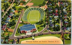 Charlotte, NC Postcard Memorial Stadium & Armory Aerial View Football Linen