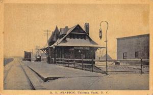 Washington DC Tacoma Park Railroad Station Train Depot Postcard