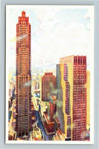 New York City NY-New York, Afternoon At Rockefeller Center, Chrome Postcard