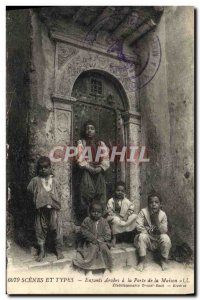 Old Postcard Scenes And Types Arab Children At The Gate Of The House Children