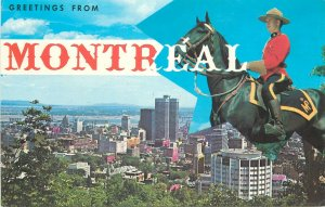 Canada Souvenir Postcard Montreal panorama Royal Canadian Mounted police officer