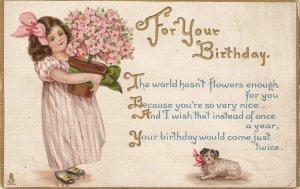 Pretty litle girl with flowerpot. Dog Tuck Birthday Children Ser. PC # 193