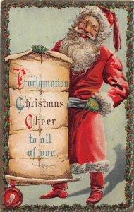 F99/ Santa Claus Christmas Postcard c1910 Proclamation Green Gloves 17