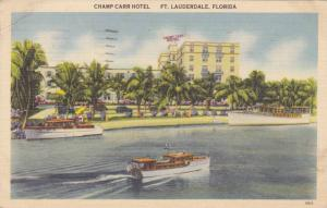 Waterfront View, Boats at Champ Carr Hotel, Ft. Lauderdale Florida 1942