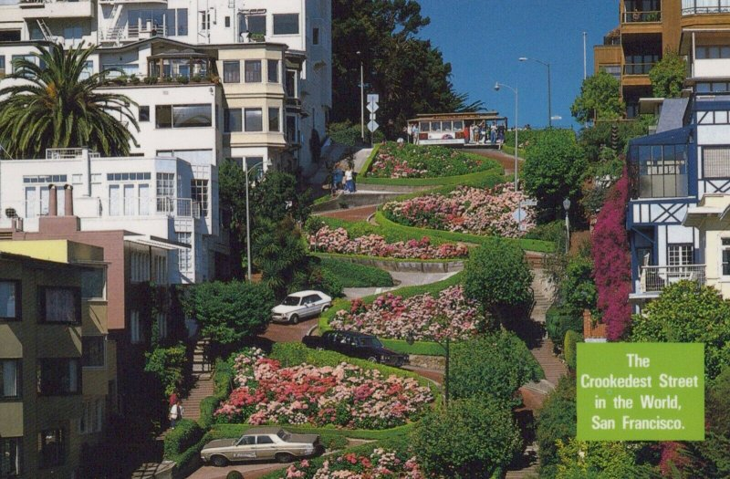 LOMBARD STREET, CROOKEDEST STREET, SAN FRANCISCO, CALIFORNIA Vintage Postcard