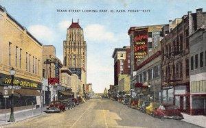 Texas Street  Looking East, El Paso, Texas, Early Postcard, Unused