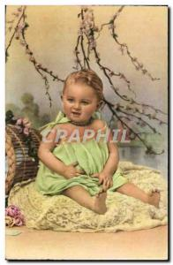Fancy Happy New Year Old Postcard Children baby