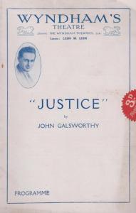 Justice John Galsworthy Drama Wyndhams London Theatre Programme