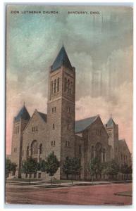 1916 Zion Lutheran Church, Sandusky, OH Hand-Colored Postcard