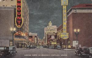 PORTLAND , Oregon , 30-40s ; Theaters at night , Broadway