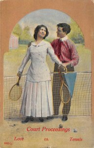 Tennis Post Card Court Proceedings Love Is Tennis Man and Woman P...