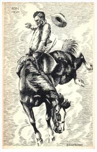 16376  Beaking a Horse   artist signed A.Pendergraft