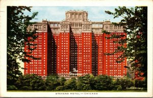 Chicago The Stevens Hotel Lake Shore Drive POSTED POSTCARD