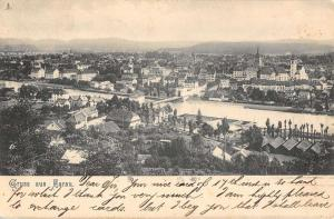 Aarau Austria Birdseye View Of Historic Bldgs River Antique Postcard K18878