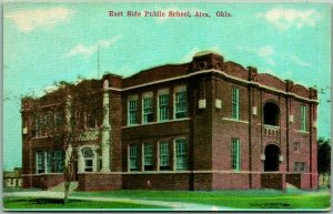 ALVA, Oklahoma Postcard East Side Public School Building View c1910s Unused