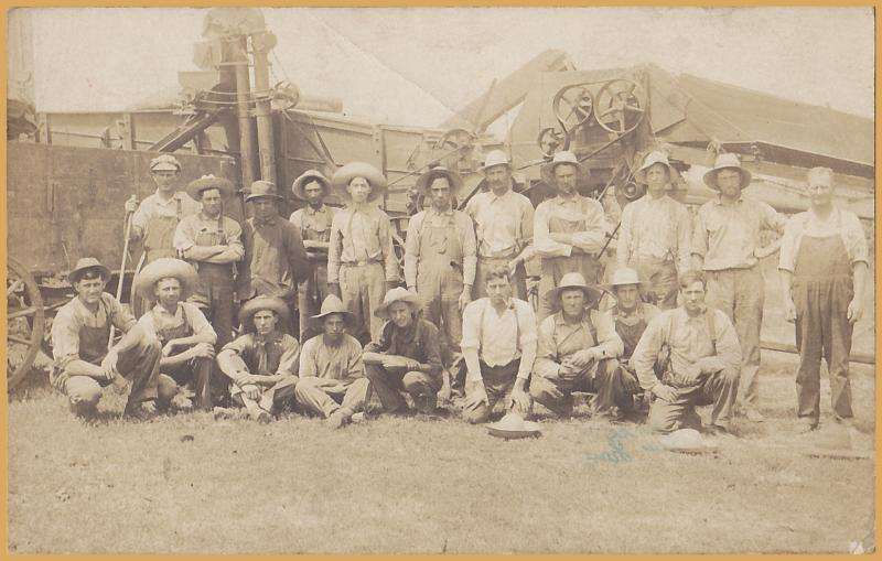 RPPC-Large group of farmers in front of Threshing Machine- Early 1900's