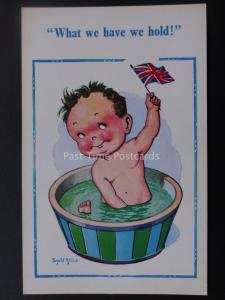 Donald McGill Postcard UNION JACK - WHAT WE HAVE WE HOLD...c1950's