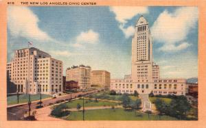 The New Los Angeles Civic Center, California, Early Linen Postcard, Unused