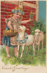 EASTER, PU-1909; Girl with sheep and basket of chicks, flowers, PFB 8390