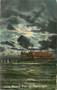 Long Beach California~Ocean Waves And Pier by Moonlight 1911