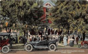Ohio Postcard c1910 CAREY Rectory Our Lady of Consolation Church CARS