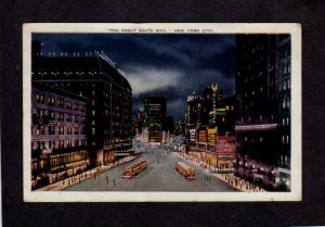 NY Night View Great White Way Times Square Sq New York City NYC Postcard