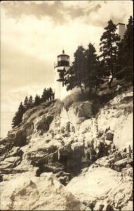 Bass Harbor Lighthouse Mt. Desert Island ME 1940s-50s Real Photo Postcard #4