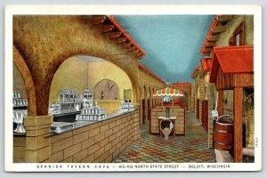 Beloit Wisconsin~Spanish Tavern Cafe Interior~Bar on Left~Barrel~1939