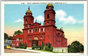 Asheville, North Carolina Postcard SAINT LAWRENCE CATHOLIC CHURCH Linen c1940s