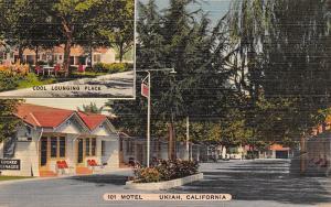 Ukiah California~101 Motel~Shady Lounging Place~Willow Trees~Postcard~Linen