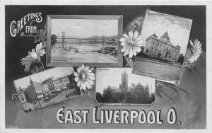 E78/ East Liverpool Ohio RPPC Postcard 4View c1910 Greetings Bridge Court House