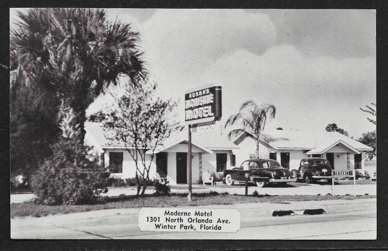 Moderne Motel Winter Park Florida Unused C1950s Hippostcard
