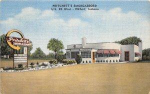G35/ Elkhart Indiana Postcard Linen Pritchett's Smorgasbord Restaurant