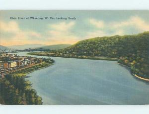 Linen WATER SCENE Wheeling West Virginia WV hk2695