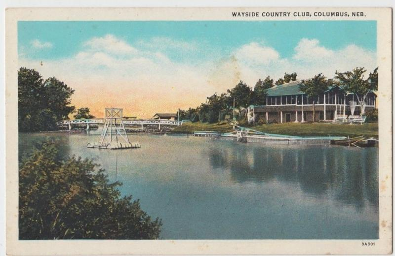 Old COLUMBUS Nebraska Nebr Postcard WAYSIDE COUNTRY CLUB