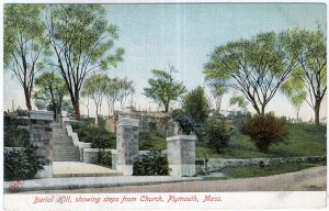 Plymouth, Mass, Burial Hill, showing steps from Church