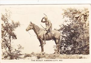 The Indian Scout Statue Kansas City 1939 Missouri Real Photo