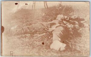 Vintage 1910s WWI RPPC Real Photo Postcard Body on Battlefield - Unused