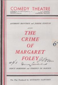 The Crime Of Margaret Foley London Police Mystery Comedy Theatre Programme