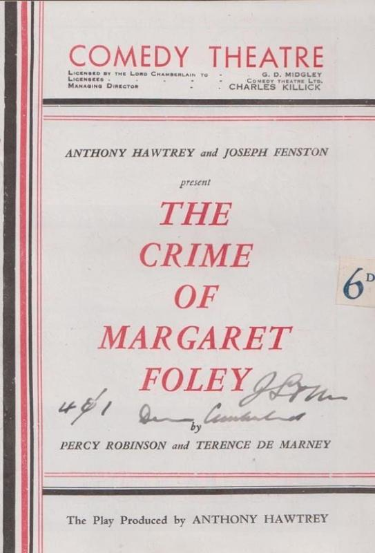 The Crime Of Margaret Foley London Police Detective Comedy Theatre Programme